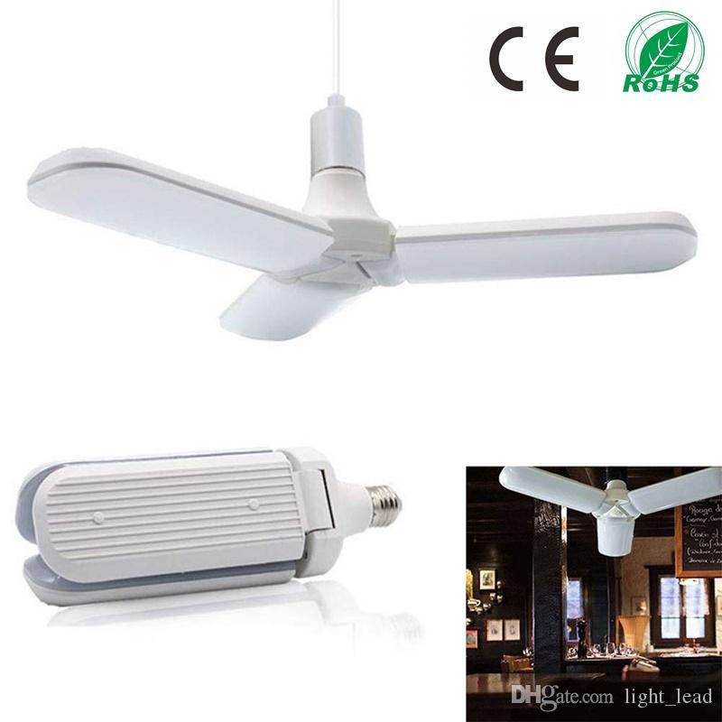 45W E27 Lâmpadas LED SMD2835 228leds dobrável Fan Super Bright lâmina de ângulo ajustável lâmpada do teto Início Energy Saving Luzes