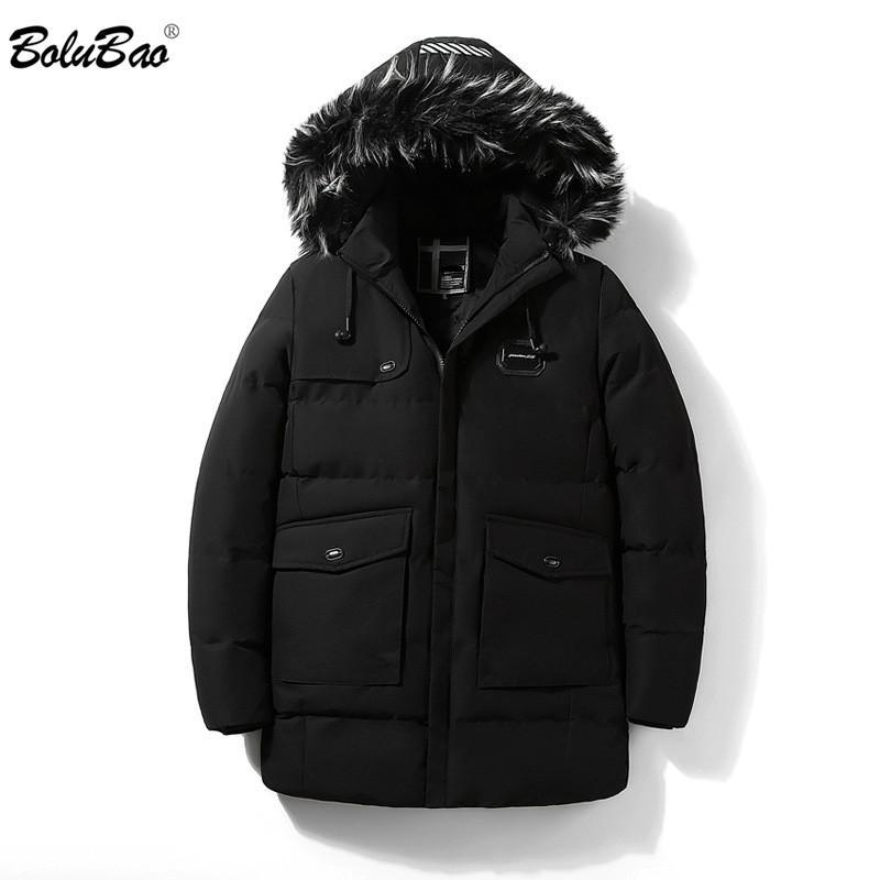 BOLUBAO Marke Männer Winterjacken 2019 Männer Warme Parka Einfarbig Mantel Männlichen Mode Pelzkragen Mit Kapuze Große Tasche Jacke Mantel