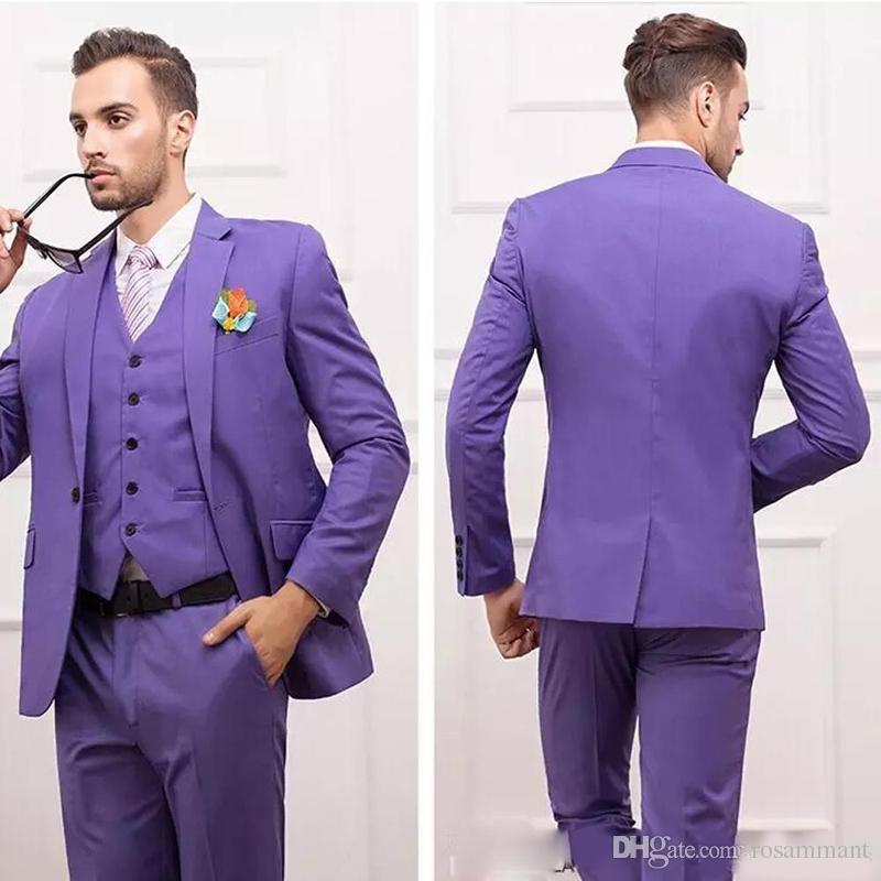Customize Slim Fit Groom Tuxedos Groomsmen Purple Back Split Satin Wedding Best Man Suit Men's Suits (Jacket+Pants+Vest+Tie)
