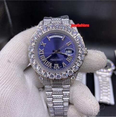 Grapas diamantes de los hombres de 43 mm de plata del reloj de manera azul diamante de la cara correa de acero inoxidable de alta calidad reloj automático