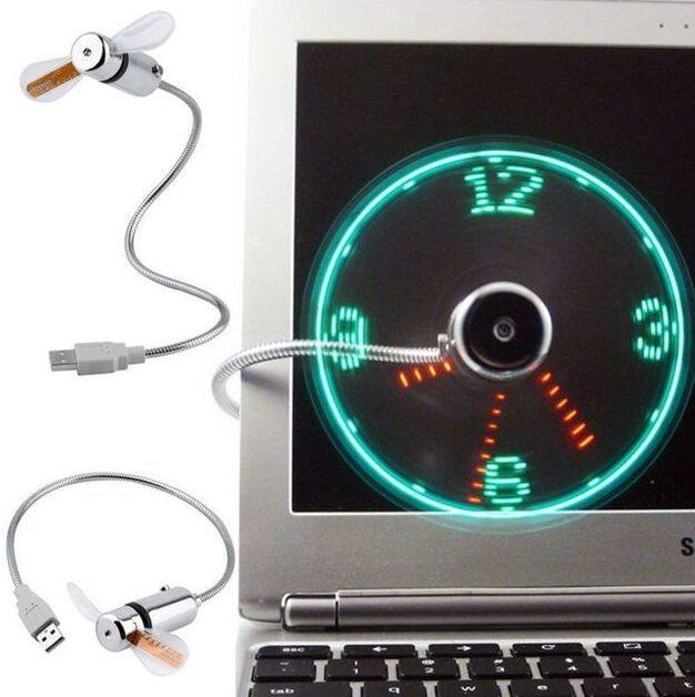 LED 타임 LED 시계 팬 LED 라이트 디스플레이와 크리 에이 티브 조정 가능한 미니 USB 팬 소매 상자와 함께 멋진 가제트