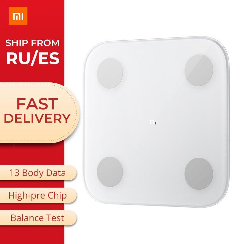 Original Composição Xiaomi inteligente Body Fat 2 Mi Escala Bluetooth 5.0 Balance Test Corpo Data BMI Saúde Balança monitor T200522