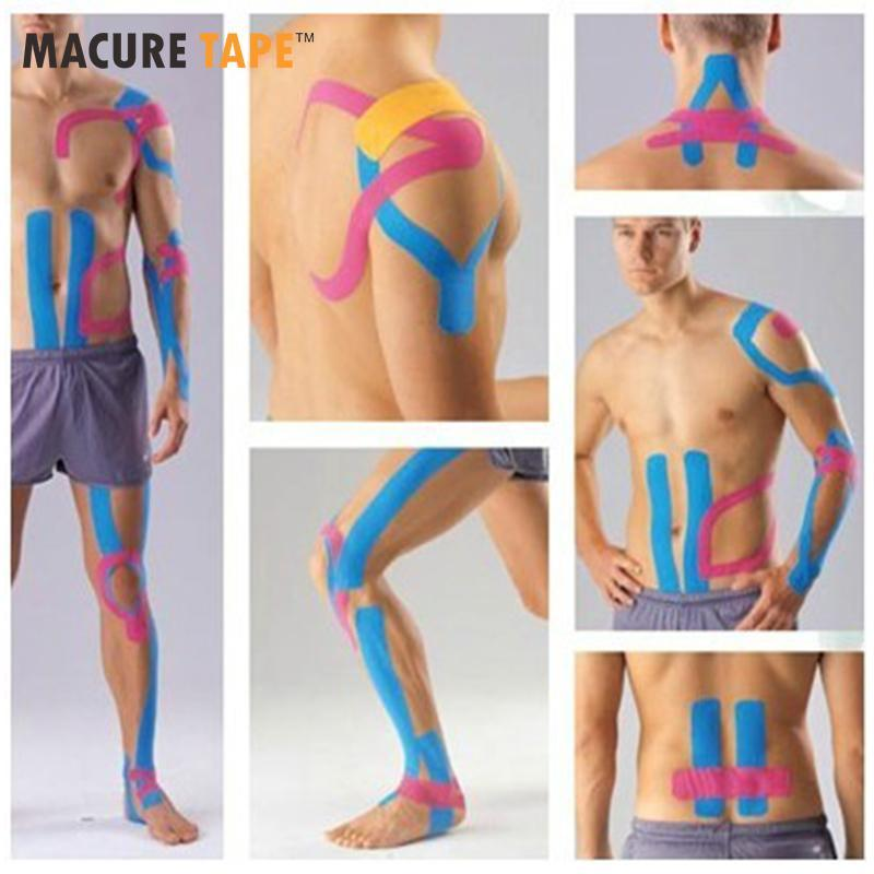 Wholesale- 10 Rolls Mix Color Macure Kinesio tape Cotton Kinesiology tape 5cm x 5m 10rolls/lot free shipping