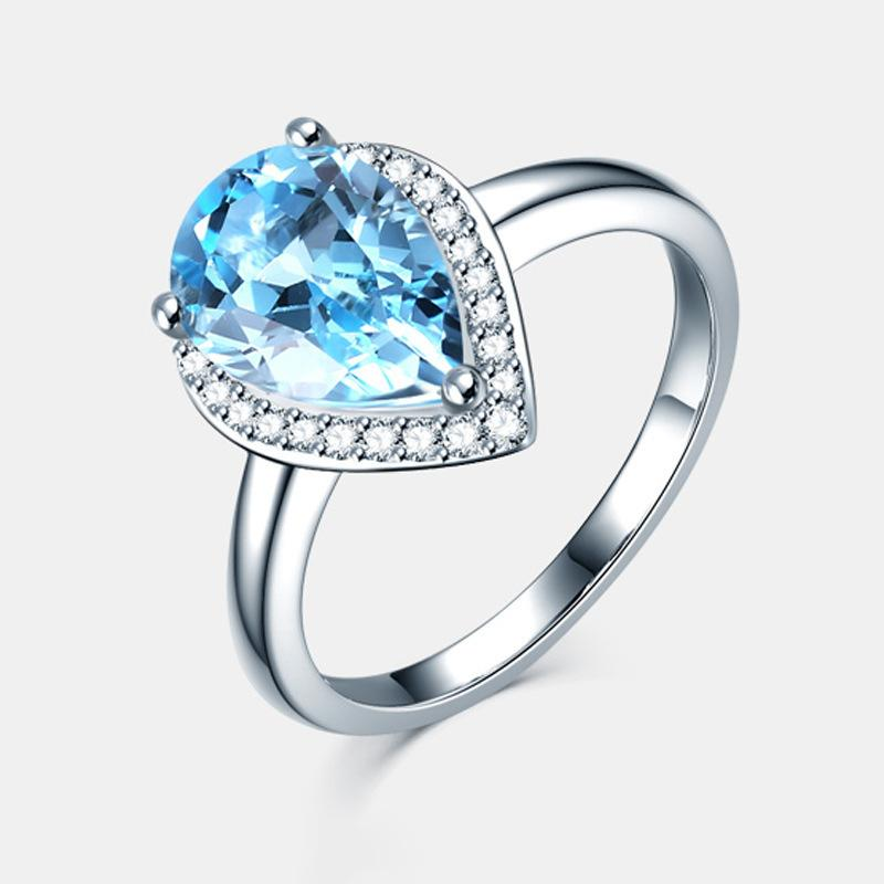 Drip Form Blue Ring Imitate Natural Support Palmer Stone Ring