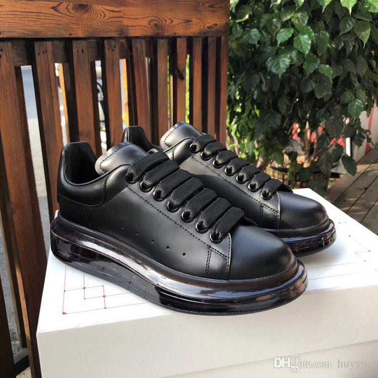 Top Qulaity Hombres Mujeres Moda Negro de cuero genuino cojín de aire zapatos populares con cordones plana Zapatos deportivos de gamuza zapatillas de deporte Zapatillas