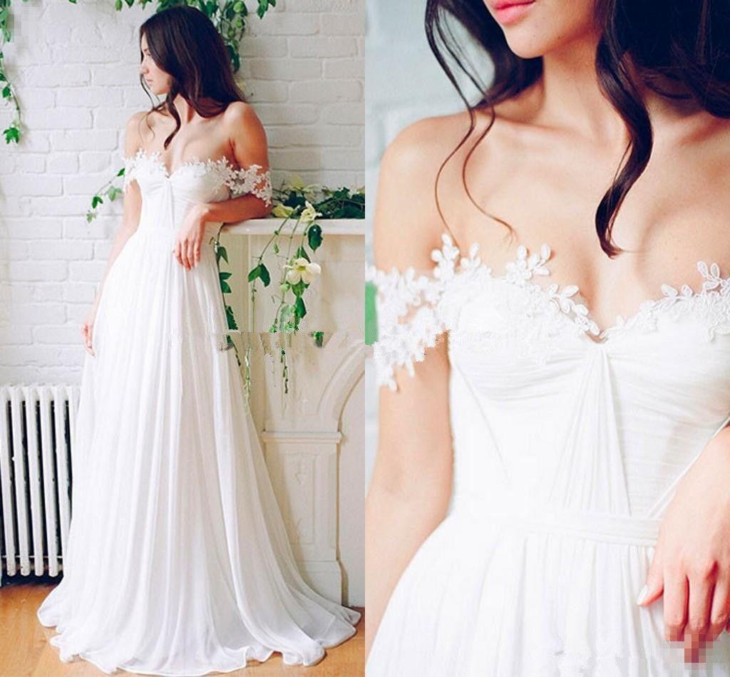 Beach Wedding Chiffon A line Long Bridal Gowns With Pleats Floor Length Off-Shoulder boho Wedding Dresses Cheap Custom Made CG01