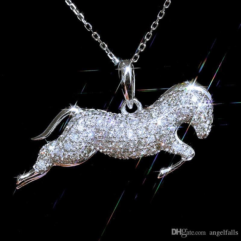 Frauen Strass Pferde hängende Halskette Bling Bling Kristalltierpferde Claviclekettenhalskette für Geschenk-Partei