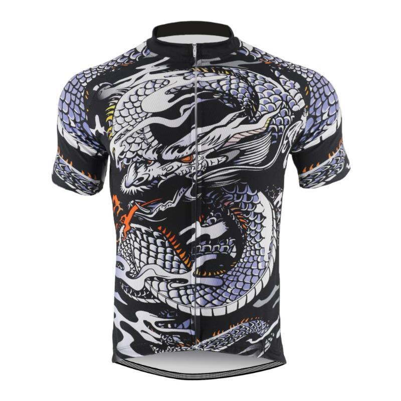 Chinese Dragon Breathable Unisex Anti-Pilling void retro Short sleeve cycling jersey men road bike mountain bike jersey Cycling