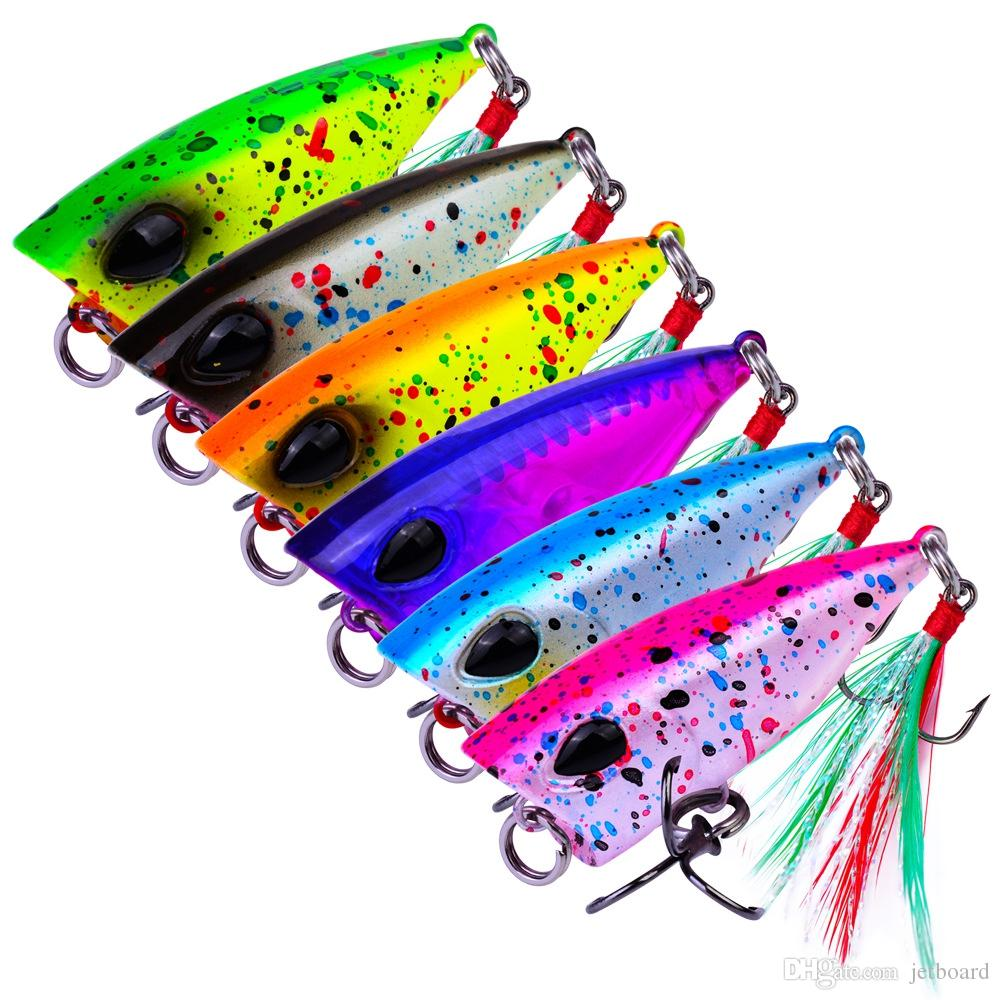 6Pcs in 1lot Mini Popper Trout Lures 4.3cm 4g Ultralight Fishing Lure Topwater Bait