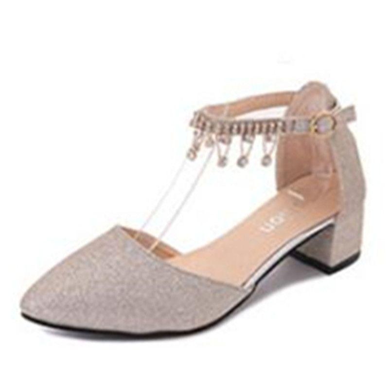 Gold Crystal Heels 35-42 Large Size Women Shoes Kitten Heels Ankle Strap Block Heel Shoes Women Party Shoes Silver Heels for Women