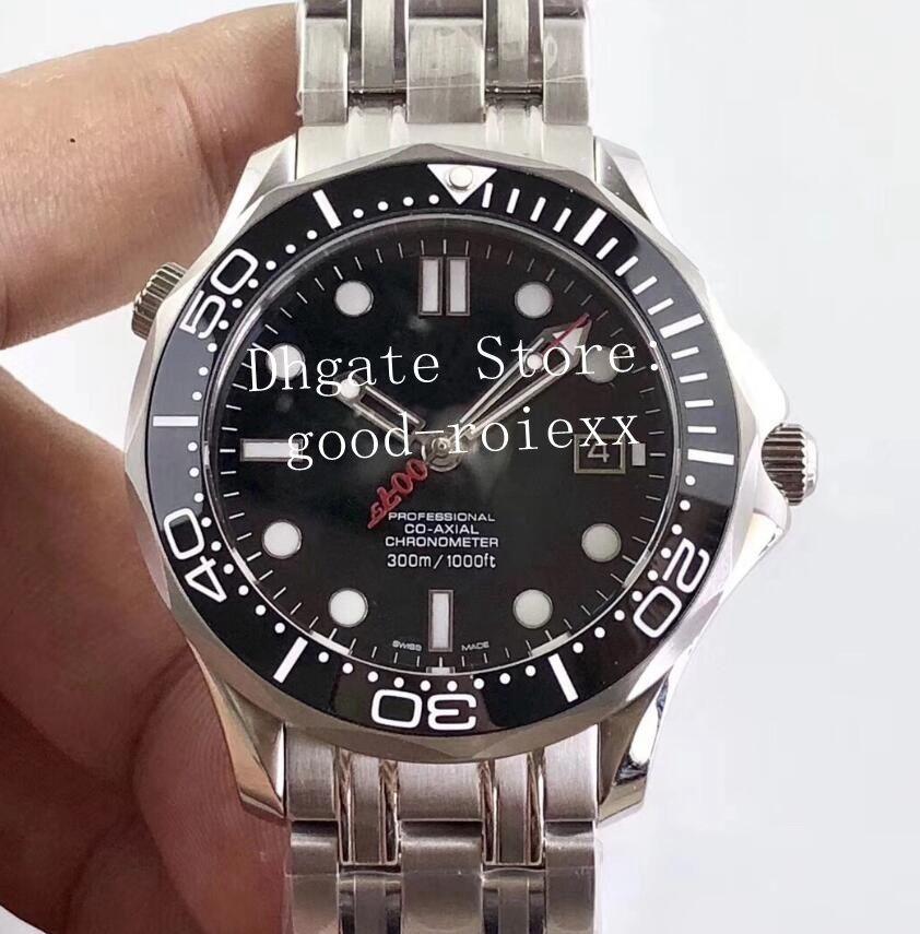 Top Herren Automatikuhr Männer Miyota 9015 TW-Fabrik-Uhr-Schwarzes Zifferblatt Datum Chronometer Wasserdicht 007 James Bond Commanders Armbanduhr