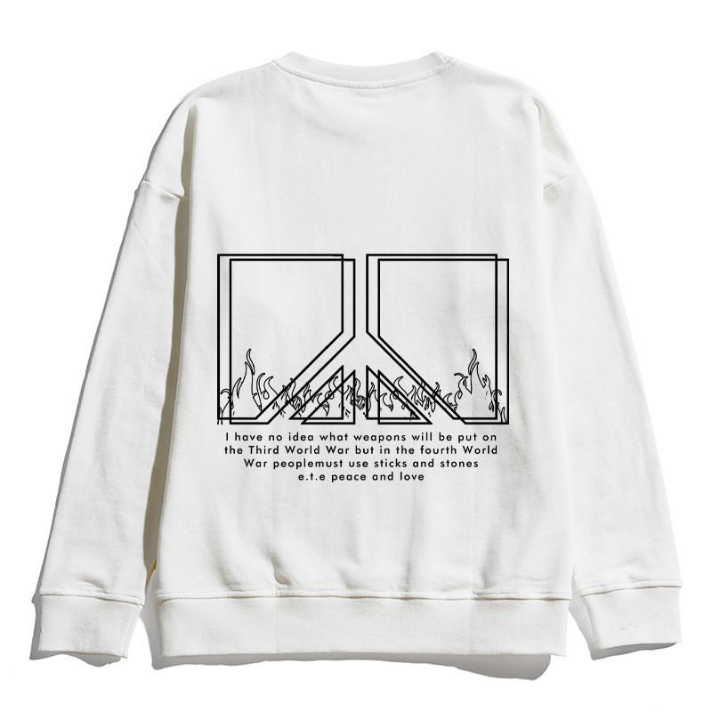 Mode Hip Hop-Sweatershirt des femmes des hommes Lettre Anti Guerre Imprimer Sweatershirts Marque Designer Pull Top qualité Printemps Automne B101714V
