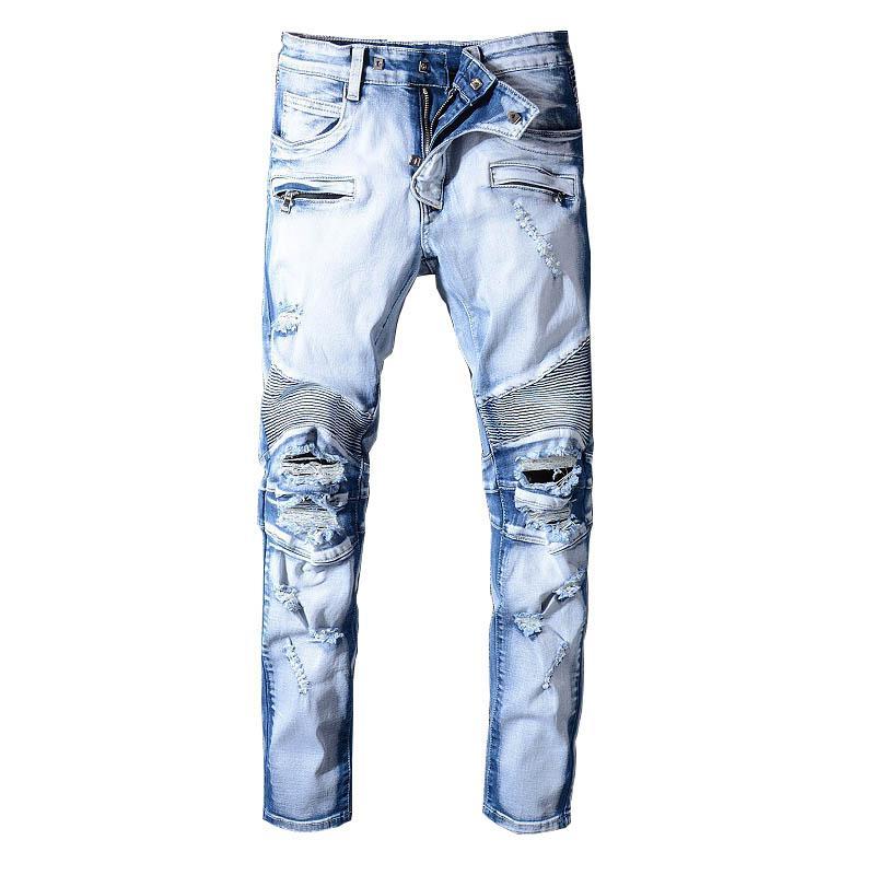 Hombres Calle Pantalones vaqueros rasgados lavados Destroyed Jeans gastados pantalones para el tamaño 29-42 recto masculino