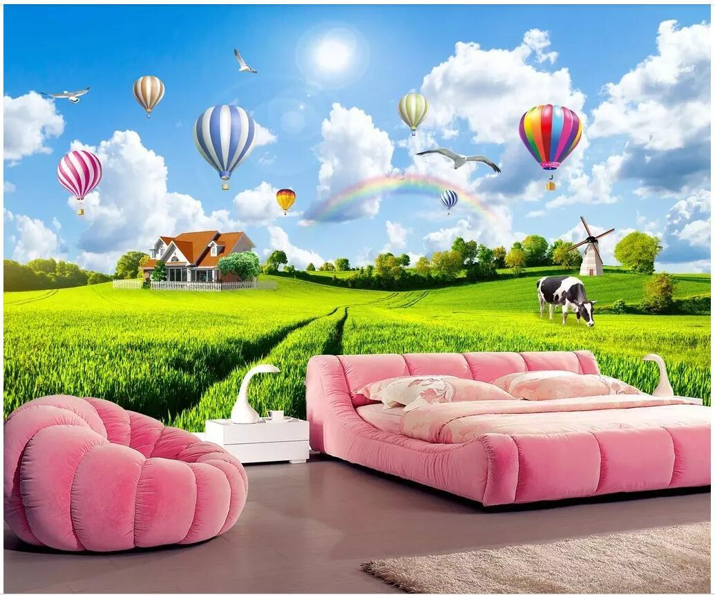 Custom Photo 3d Wallpaper Rural Scenery Blue Sky White Clouds Hot
