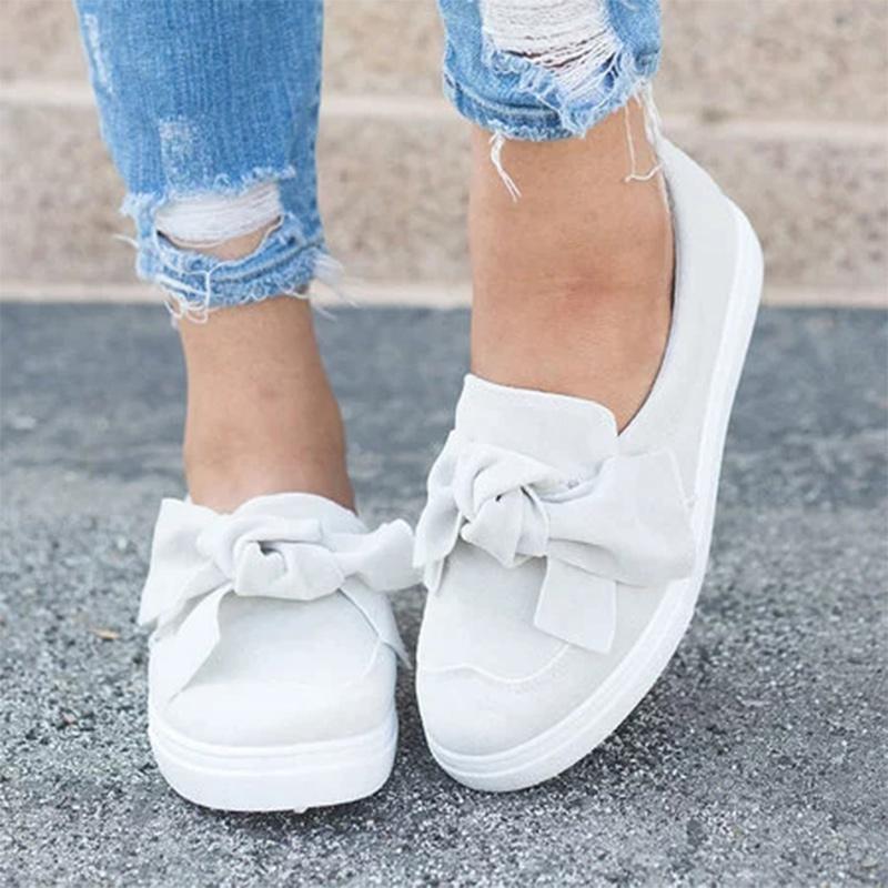 2020 Mulheres Loafers Plus Size deslizamento Plataforma On Shoes Bowtie planas Costura Casual sapatos bowknot Mulher Flock mocassins Calçado