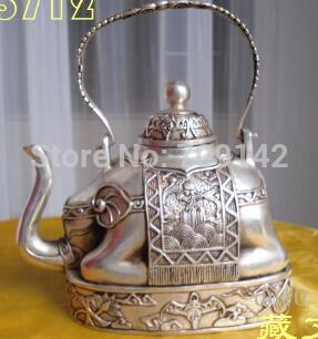 bronze coated silver elephant shape figure teapot 13 cm tall lucky statue Tibet Miao Antique Old Silver