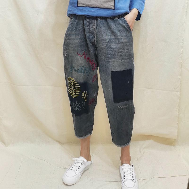 Ein paar Scheiben im Ethno-Stil Gestickte Harem Jeans Damen breitbeinig Hosen 2020 neue Art-lose und Plus-sized Elastic Waist