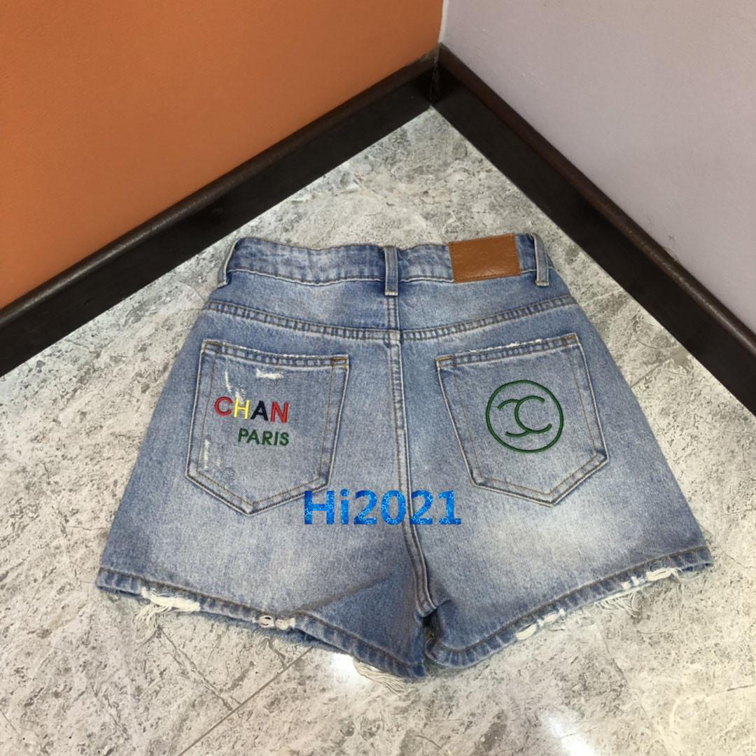 высокого класса женщин девочки джинсовые шорты трусы джинсы цвет письмо вышивка печать -линии брюки взлетно-посадочной полосы 2020 дизайн одежды роскошные брюки