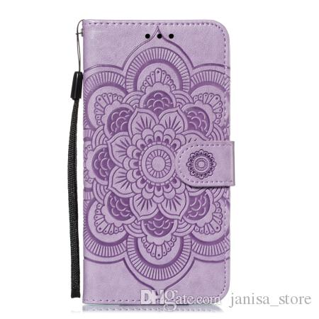 New sun mandala embossed mobile phone case TPU+PU multi-function wallet holster anti-fall can support for samsung note10 pro