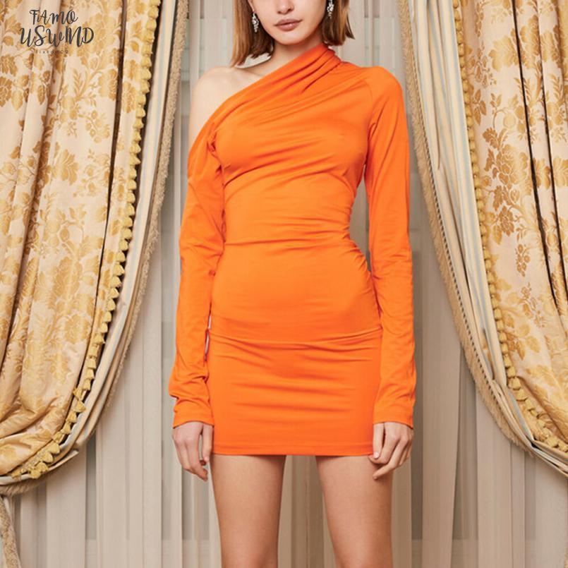 2 Renkler Kadın Sexylong Kol Stretch Paketi Kalça BODYCON Mini Elbise Parti Kulübü Sonbahar Turuncu Katı Bir Omuz Elbise