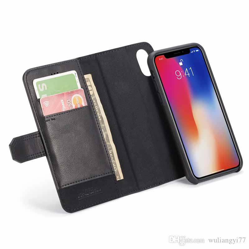 Machines à sous Card Wallet 2 en 1 pour iPhone XS X Séparation PU cuir magnétique Folio flip pour iPhone 7 plus XS Max 6S 8