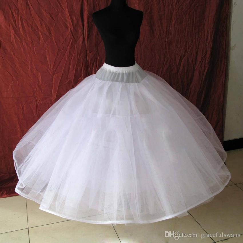 Hoopless 8 طبقات الصلب تول تنورات الزفاف الفاخرة الأميرة الكرة بثوب فساتين تحتية تول قماش قطني طويل