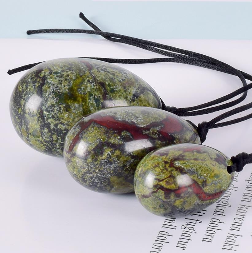 Perforado Natural Dragón Blooded Piedra Yoni huevo Conjunto de curación bolas de masaje Yoni ejercicio de Kegel huevos para las mujeres