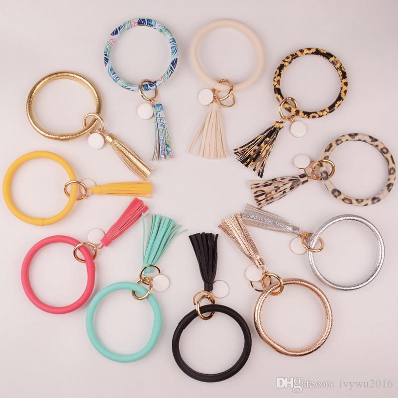 2019 neue Art und Weise viele Farben Tassel Schlüsselanhänger Emaille-PU-Leder-O Schlüsselanhänger Kreis Wristlet Keychain für Frauen Mädchen