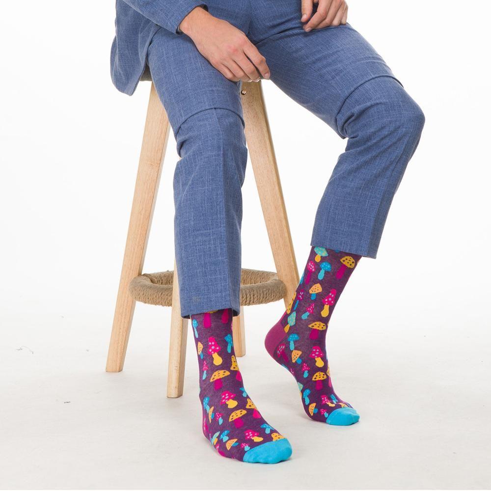 Kawaii Food Funny teste padrão colorido Sushi Mushroom novidade Grupo meias masculinas sokken criativa Casual Partido Cotton Socks por Homem