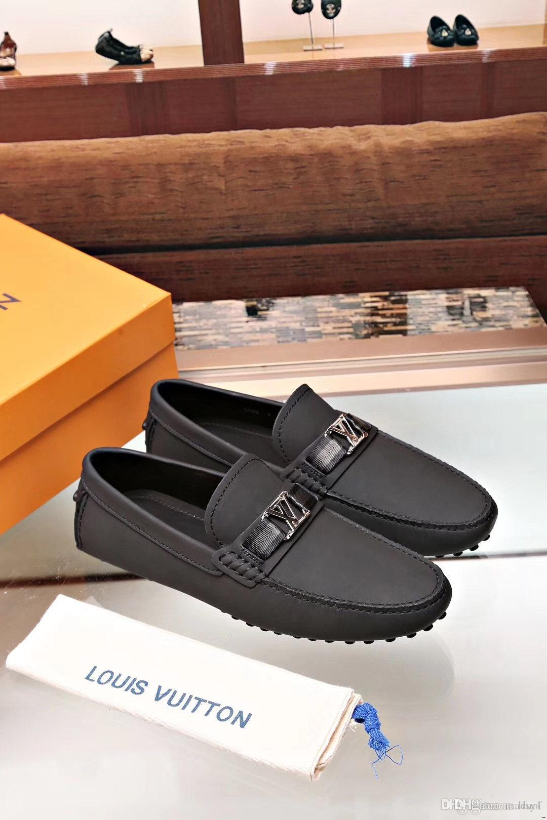 19FW Spring Summer Mens Loafers Plus Size Lightweight Comfortable Flat Casual Shoes Men Breathable Slip on Soft Leather Driving Shoes LISY1