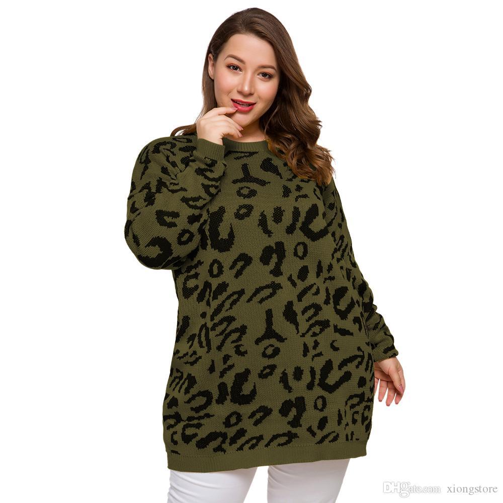 Mode 2020 automne manches longues femme vert Chandails et nouveau style hiver de grande taille léopard pull col rond en vrac 3 couleurs