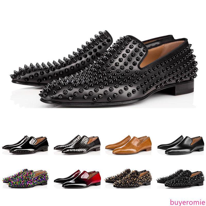 2019 diseñador de lujo para hombre zapatos mocasines roja pico de deslizamiento Charol en pisos vestido de boda de la base del calzado para el tamaño del partido de negocios 39-47