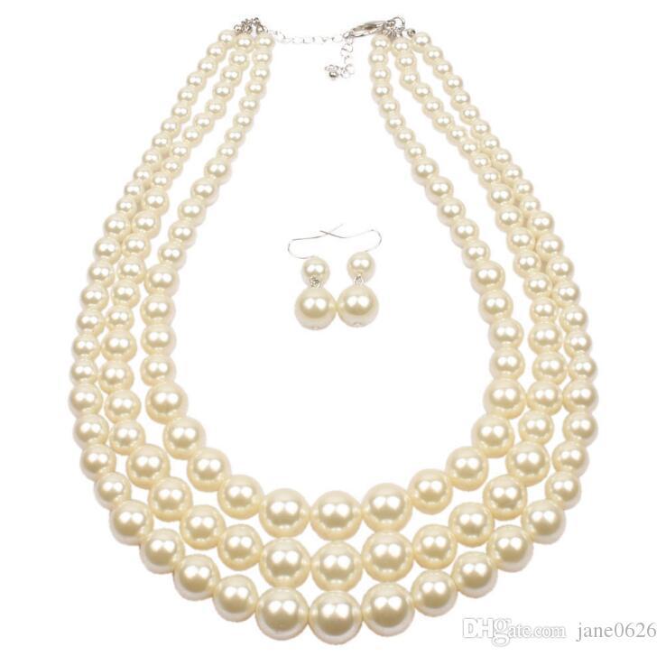 Art und Weise 4 Farben simulierten Perlen-multi Strang 3 Schichten Choker Dressy Halskette und Ohrringe stellten freies Verschiffen ein