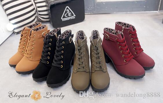 Free shipping thick with ankle boots Martin boots female explosion models with round head women's boots frosted material high heel short bo1