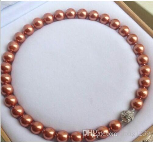 12mm Süd Muschel Perle Edelsteine Runde Perlen Halskette Magnetverschluss