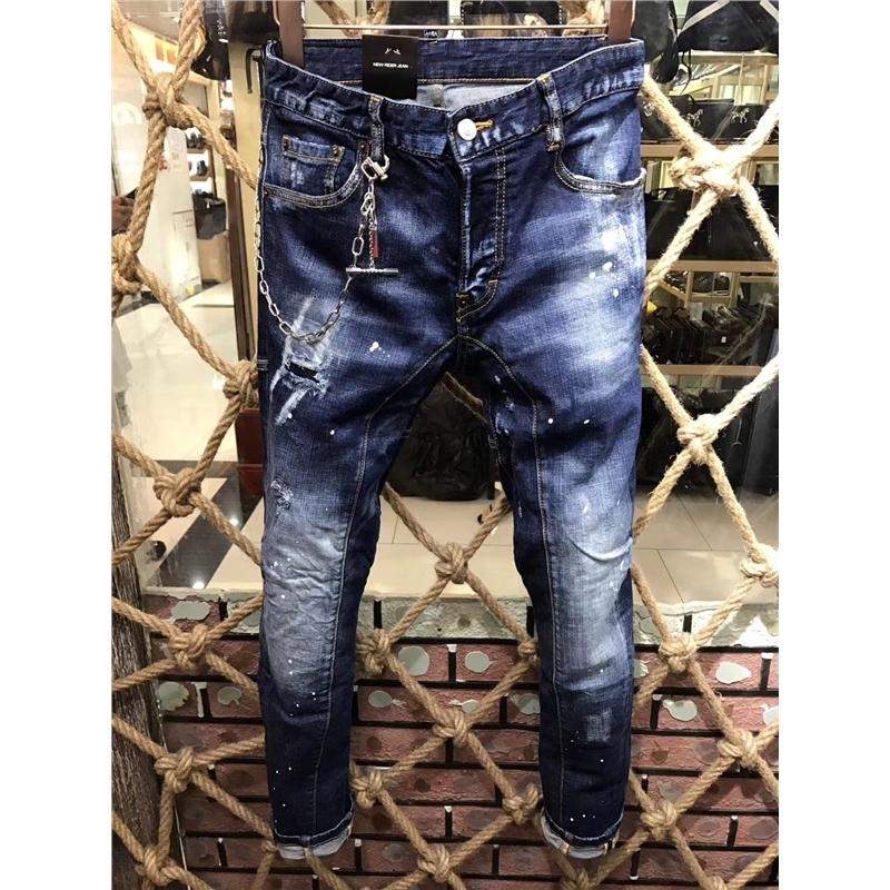 flaco del ajuste delgado 2018 de invierno Casual Jeans larga hombres pantalones apenado de los hombres rectos del dril de algodón pantalones cortos rasgados del basculador bolsillos de jean SH190930 masculina