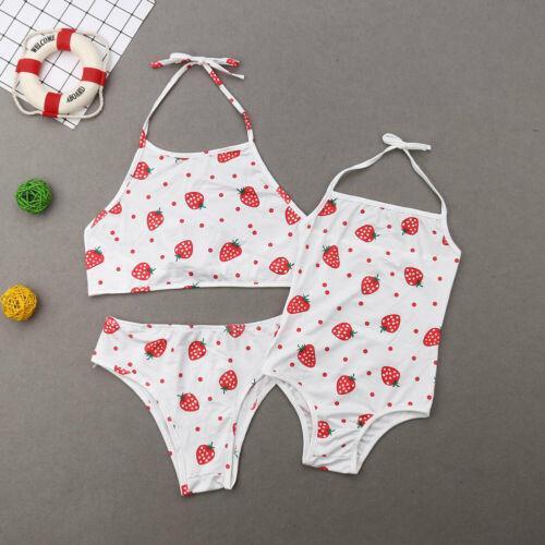 Pudcoco 2019 Mode féminine parent-enfant bébé Ensemble bikini maillot de bain Mère Fille Bandage Maillots de bain Beachwear Batching Costume Fruit