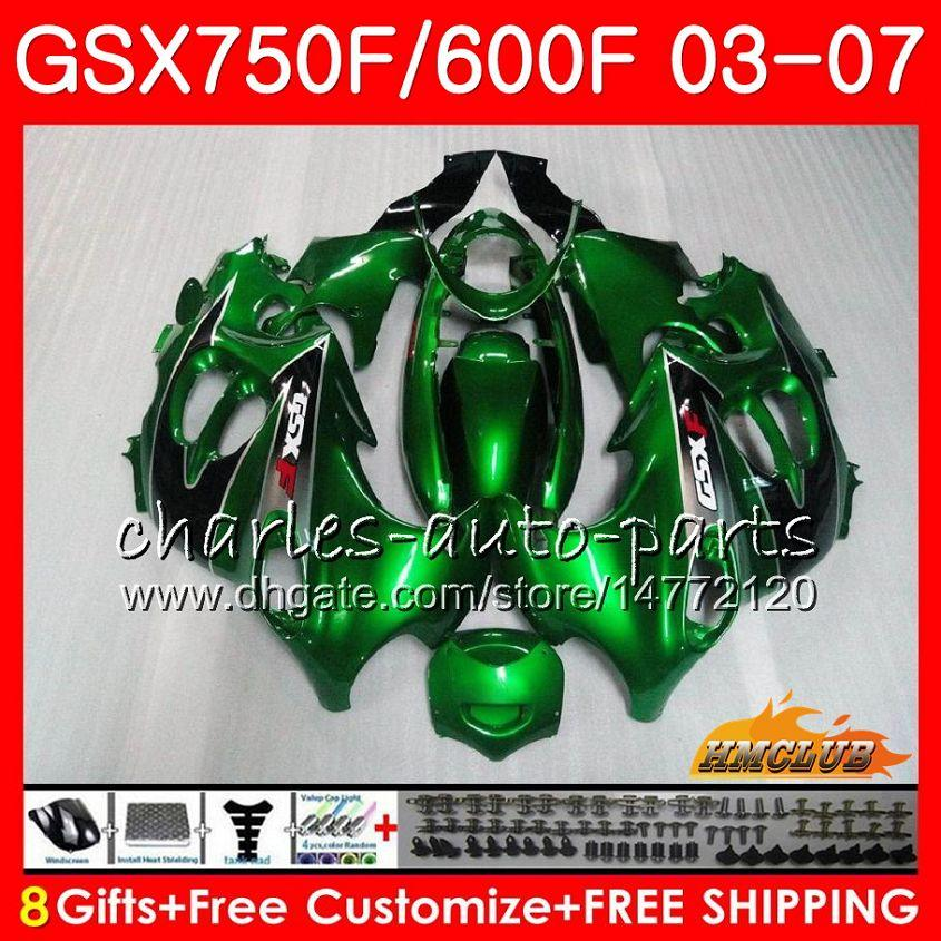 Corpo para Suzuki Katana GSXF750 GSXF600 2003 2004 2005 2006 2007 3HC.42 GSX600F GSX750F Green Green GSXF 600 750 03 04 05 06 07 Kit de justo