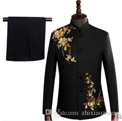 Blazer men Sequin suit set with pants mens wedding Chinese tunic suit costume singer stage embroidered formal dress black Chorus