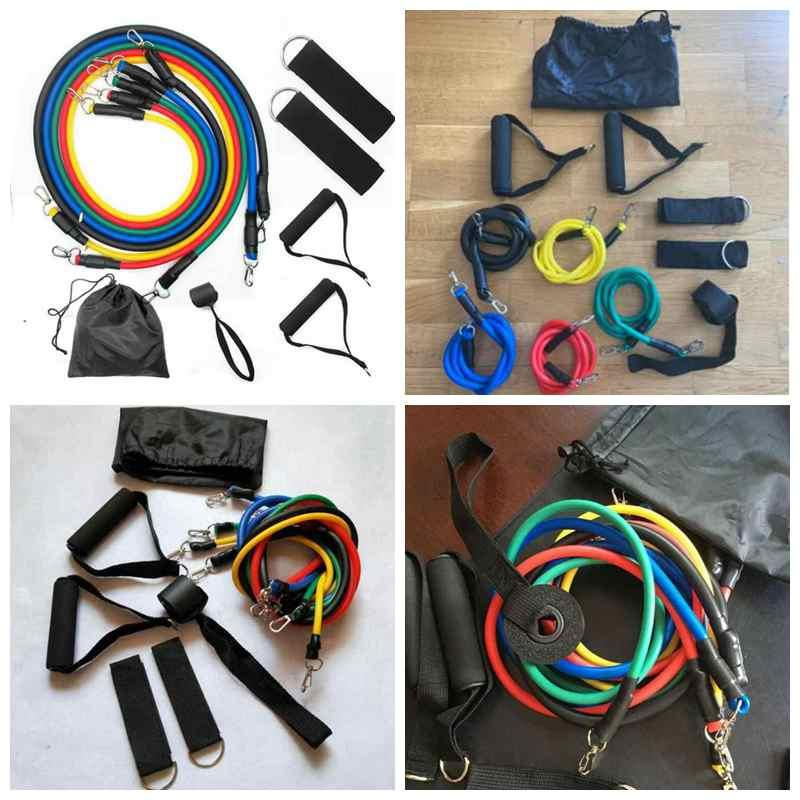 Спорт на открытом воздухе Латекс Resistance Bands тренировки упражнения пилатес Йога Фитнес Crossfit Tubes тросовые 11 шт / комплект ZZA2208 30sets
