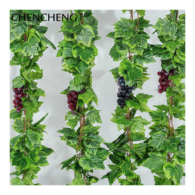 Ev Dekorasyonu T200509 için CHENCHENG 10 Parçalar / Lot Yapay Bitki Vines İpek Üzüm Yapraklar Duvar Asma Sahte Sahte Simülasyon Tesisi Rattan