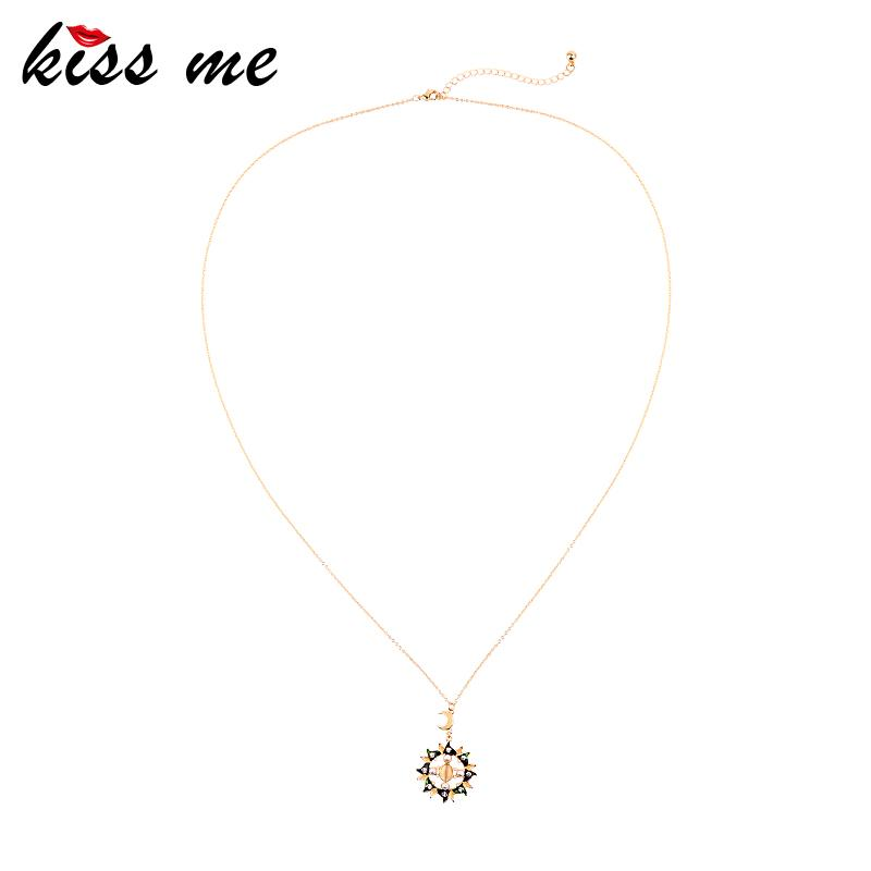 KISS ME Long Pendant Necklace For Women Gifts Moon Sun Unique Opal Enamel Crystal Drop Necklace 2020 Fashion Jewelry Accessories