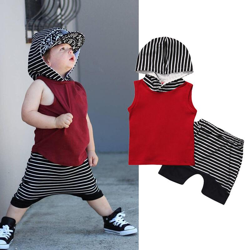 Casual Kids Baby Boys Clothes Summer Sets Sleeveless Hooded Tops Vest+Harem Shorts 2Pcs Tracksuits Baby Boy Cotton Outfits 0-4T