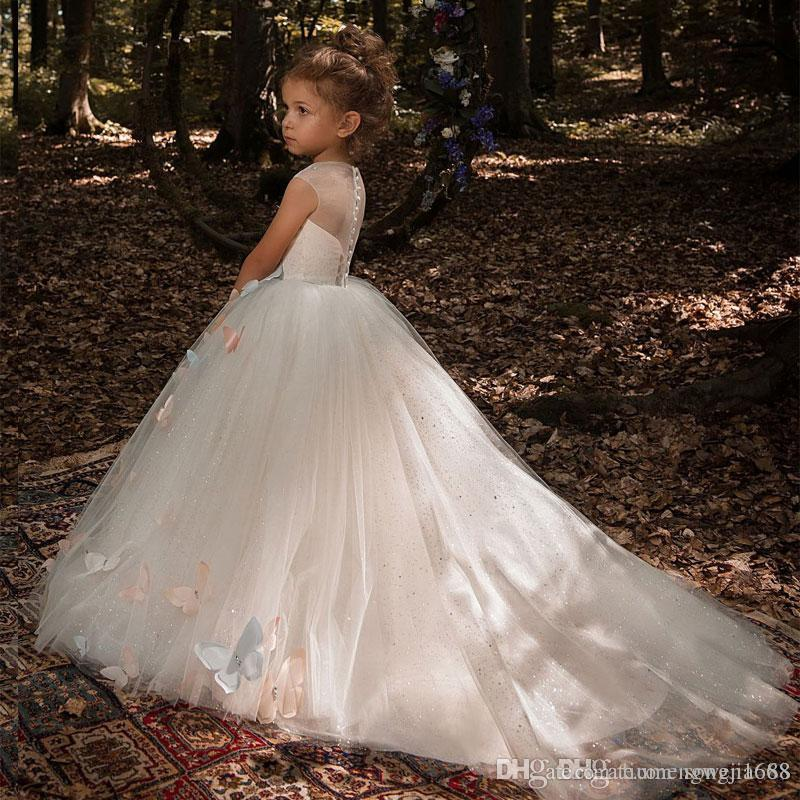 Butterfly Flower Girl Dresses 2020 Luxury Kids Evening Pageant Ball Gowns First Communion Dresses For Girls