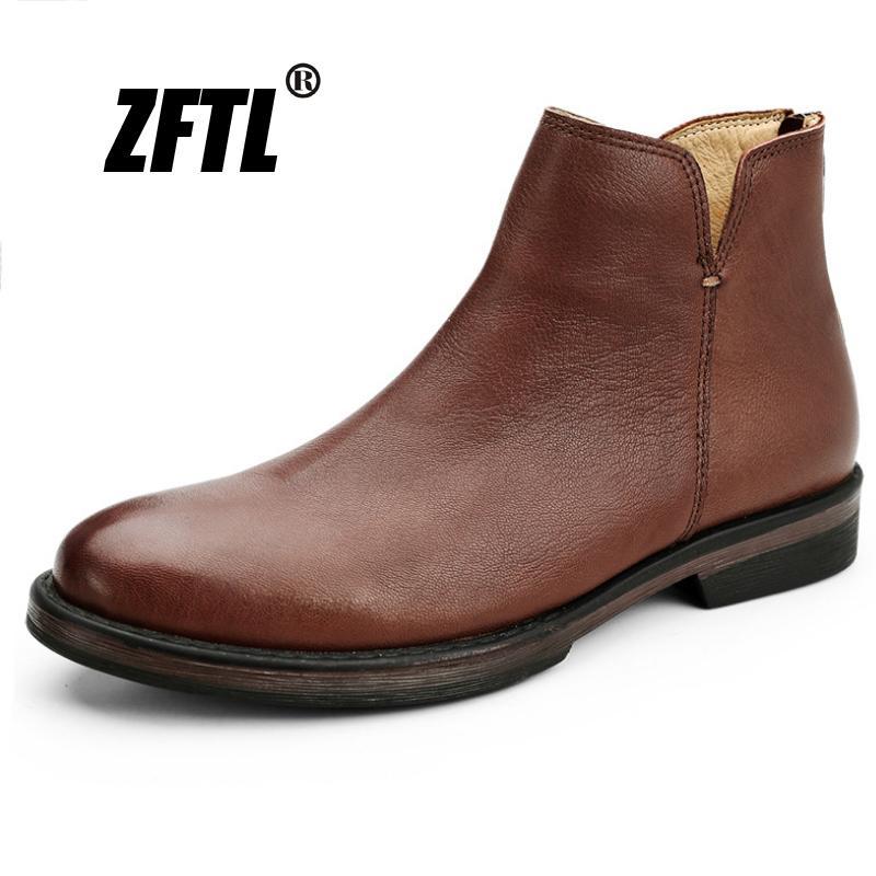 ZFTL Nouveau véritables chaussures en cuir rétro chaussures de sport de bottines hommes bottes hommes 169