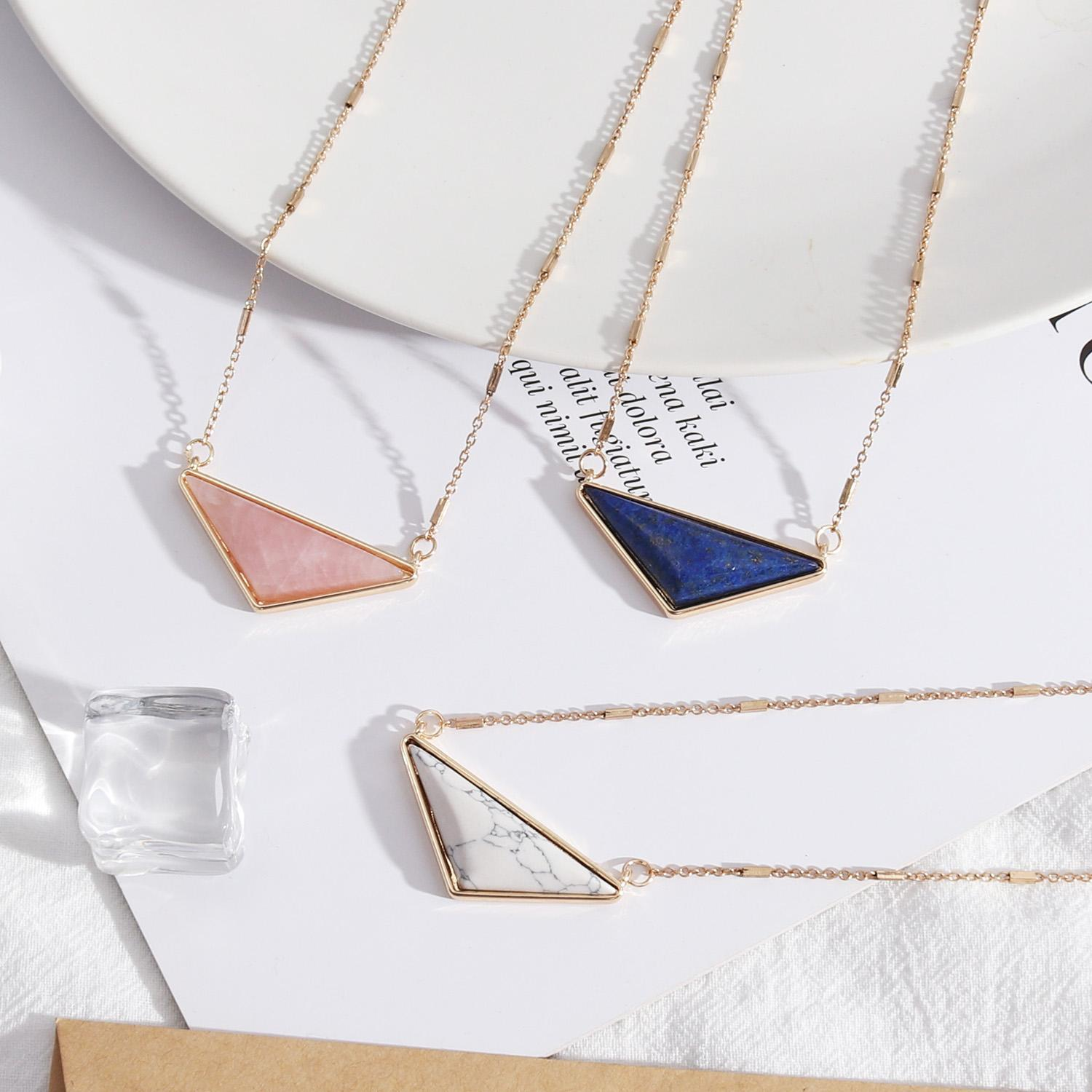 Free Shipping Triangle Alloy Natural Stones Short Necklace, Pink Blue White Simple-New Party Holidays Pendant Necklace For Women Girls