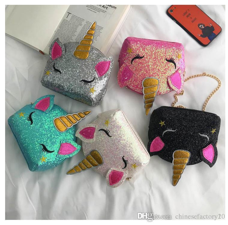 스팽글 가방 유니콘 크로스 바디 백 여자 만화 체인 어깨 가방 어린이 블링 메신저 가방 선물 5 색