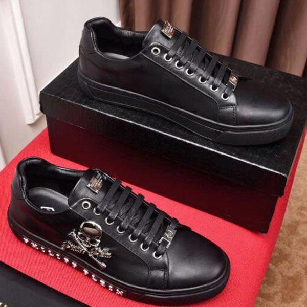 2019 nuevos de alta calidad al aire libre de los zapatos casuales, picos de cuero real de tirantes conjunto zapatillas de deporte bajas en la parte superior de diseño de metal al aire libre con DD3 embalaje original