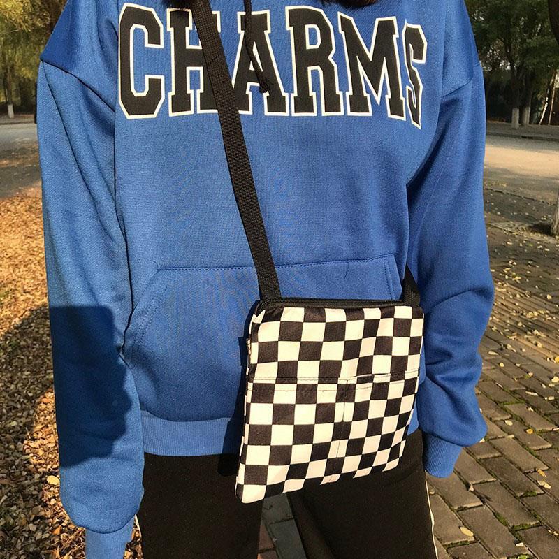 Streetwear bolsa de lona sacos de ombro para CheckerBody Cruzbody Outdoor Harajuku Unisex Bolso Bolso Men Messenger Mulheres Eblut