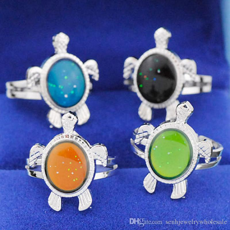 Wholesale 50pcs Cute Sea Turtles Mood Rings Color Changing Emotion Temperature Changeable Adjustable Finger Ring Band Gifts MR66